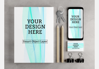 Stationery, Business Card and Smartphone Mockup