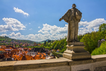 Statue in Palace of Cesky Krumlov old rural town, Czech Republic.