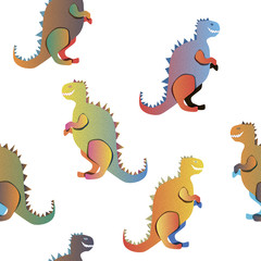 Gradient dinosaurs on the white background