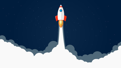 Rocket launch vector illustration. Start of rocket with flames and smoke. Dark blue background with stars. Take your bussines to stars. EPS10 vector.