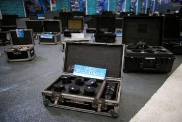Seized film equipment is shown after police dismantled a criminal band accused of selling millions of dollars of equipment stolen from Hollywood studios, in Buenos Aires