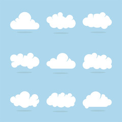 Cloud set with blue background