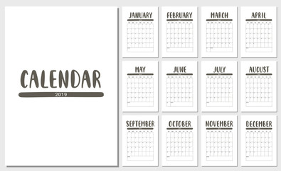 Vector Calendar Planner for 2019 Year. Handwritten lettering.