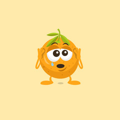 Illustration of crying sad orange mascot with teardrop on his eye isolated on light background. Flat design style for your mascot branding.