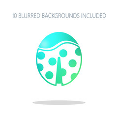 Ladybug icon. Colorful logo concept with simple shadow on white.