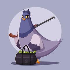 Pigeon a robber. Thug life. Cartoon vector illustration