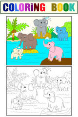 Family of African elephants color book for children cartoon raster. Coloring, black and white