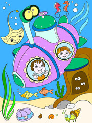Children exploring the underwater world in a submarine color pages for children cartoon raster