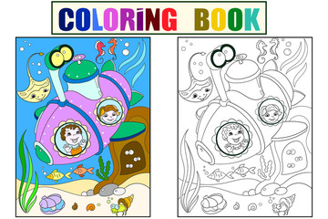 Children exploring the underwater world in a submarine color pages for children cartoon raster. Coloring, black and white