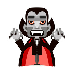 Cartoon cute Dracula in a cloak. Happy Halloween.