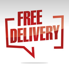 Free delivery in brackets speech red white isolated sticker icon