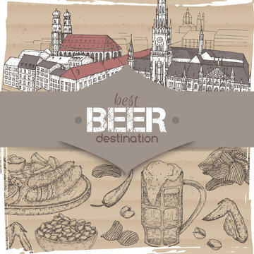 Beer travel destination template with Munich old town sketch, beer mug, chips, nuts, chicken wings and snack plate.