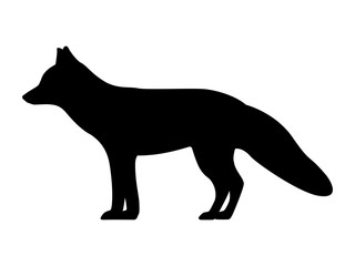 Vector illustration of a black fox silhouette
