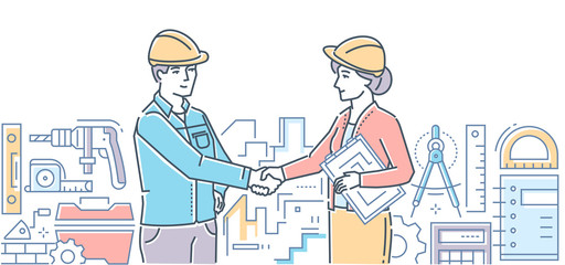 Construction firm - colorful line design style illustration