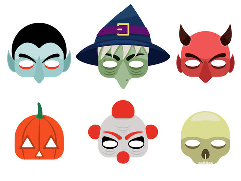Vector illustration of a set of mask for halloween