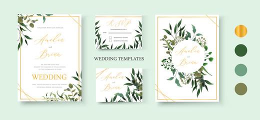 Wedding floral golden invitation card save the date rsvp design