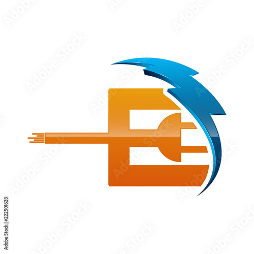 Initial Letter E Logo Template Colored Blue And Orange