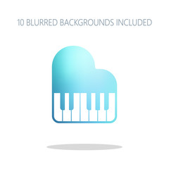 Grand piano icon. Colorful logo concept with simple shadow on wh