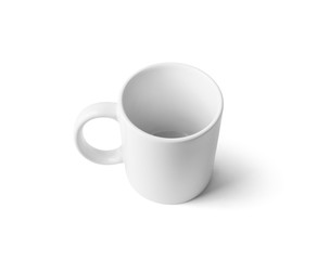Blank white mug for coffee or tea isolated on white background. Cup mock-up. Clipping path.