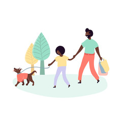 Single black father and son african americans walking outdoors on street park with dog