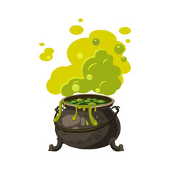 Witches cauldron, kettle with poisonous smoke, steam, boils, holiday attribute of All Saints Halloween, vector, isolated, cartoon style