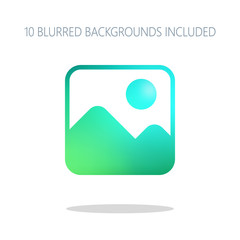 Simple picture icon. Colorful logo concept with simple shadow on
