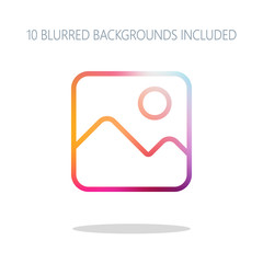 Simple picture icon. Linear symbol, thin outline. Colorful logo