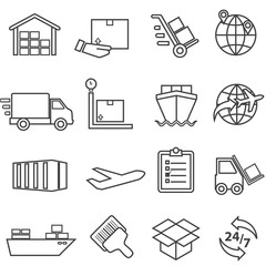 Shipping, cargo, delivery, distribution, freight and warehouse line icons