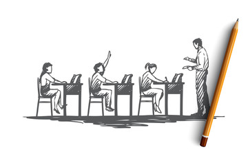 Back to school, study, education, knowledge, learning concept. Hand drawn isolated vector.