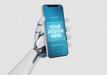 Robot Holding Smartphone Mockup