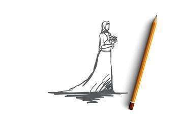 Wedding, bride, muslim, arabic, islam concept. Hand drawn isolated vector.