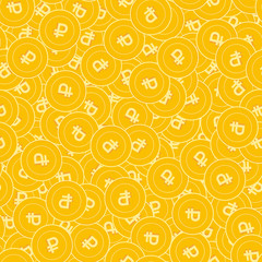 Russian ruble coins seamless pattern. Delightful scattered RUB coins. Big win or success concept. Ru
