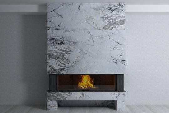 Stylish home fireplace of beautiful natural stone