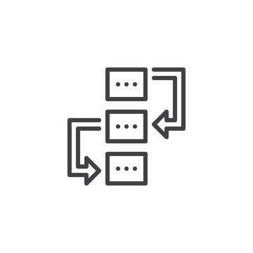 Workflow outline icon. linear style sign for mobile concept and web design. Project Planning simple line vector icon. Symbol, logo illustration. Pixel perfect vector graphics