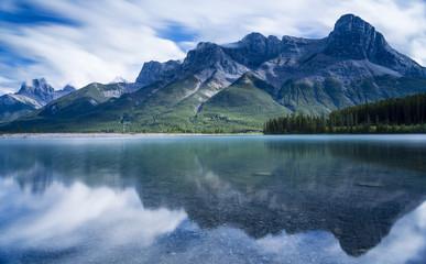 View of Ha Ling Peak and Three Sisters across Grassi Lakes, Banff National Park, Alberta, Canada
