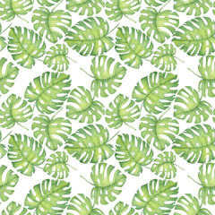 watercolor illustration of tropical pattern, hibiscus leaves monstera Pattern. Drawing for printing, Hawaiian style