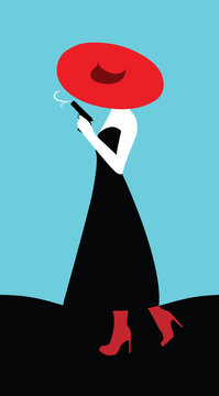 A woman in a red hat with a gun. Art illustration