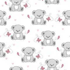 Seamless pattern with cute cartoon Teddy bears and butterflies.