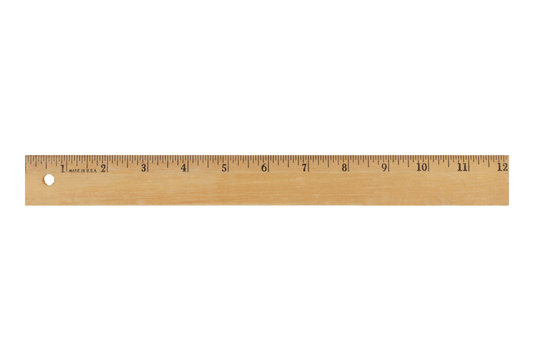 12 inch wood ruler isolated on a white background