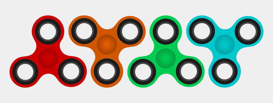 Colorful Hand spinner flat vector illustration.