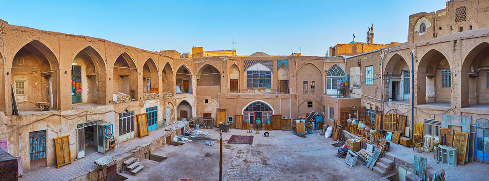Caravanserai courtyard in Kashan Grand Bazaar, Iran