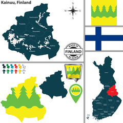 Map of Kainuu, Finland