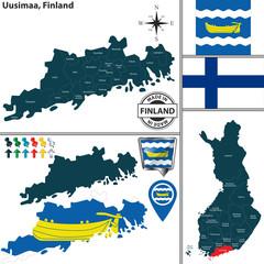 Map of Uusimaa, Finland