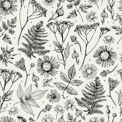 Seamless pattern with flowers, leaves and grass. Sketch. Freehand drawing