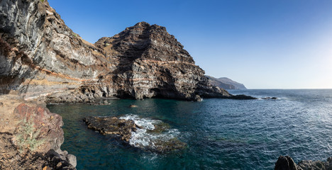 "Panoramic view of the bay ""Puerto de Sto. Domingo"". Adventures on the island of La Palma Canary Islands. Ultra High Resolution Panorama."