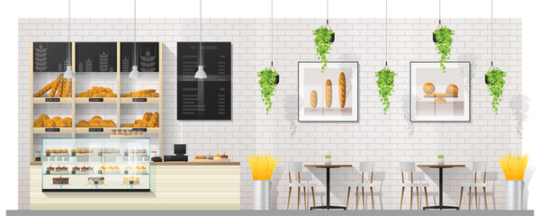 Interior scene of modern bakery shop with display counter , tables and chairs , vector , illustration
