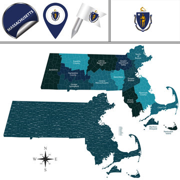 Map of Massachusetts with Regions