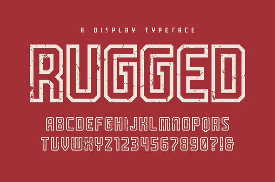 Rugged vector display typeface, font, uppercase letters and numb