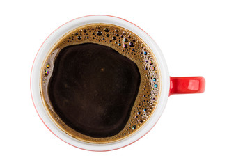 Black coffee in red cup isolated on white background