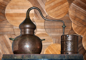 Alembic Copper. A distillation apparatus used for the production of alcohol, essential oils and moonshine. Isolate